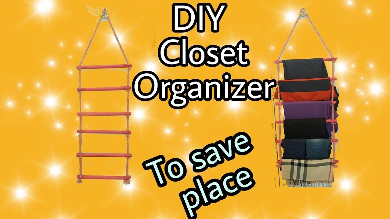 DIY Closet Organizer. Clothes Organizer. For small closet to save place:
