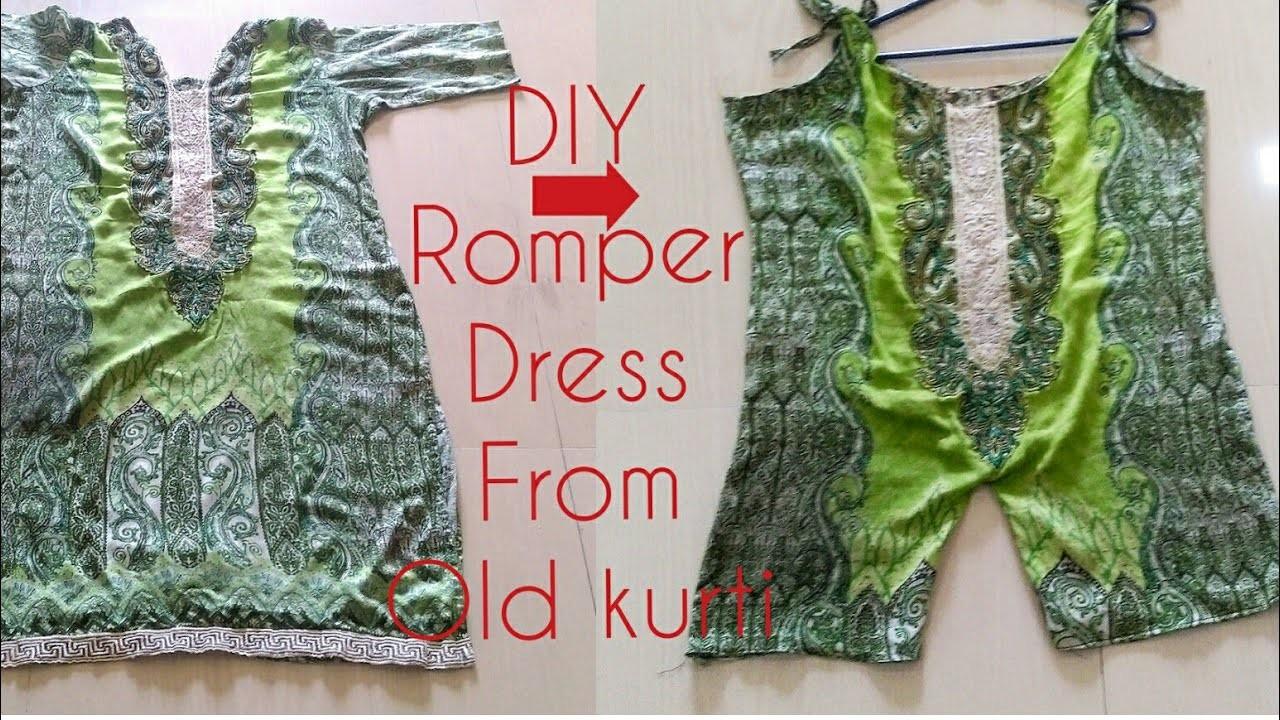 Diy Convert Old Kurtis Dress Into Romper Dress Jump Suit