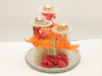 DIY diwali. Diya platter. Christmas home decoration ideas. How to decorate christmas candles