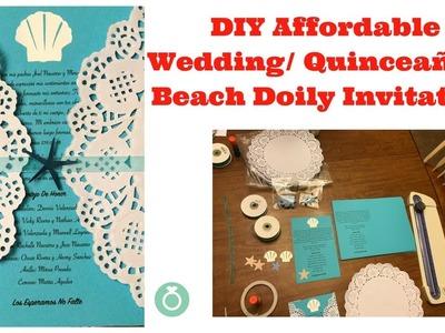 DIY Doily Beach Wedding, Quinceañera Invitations