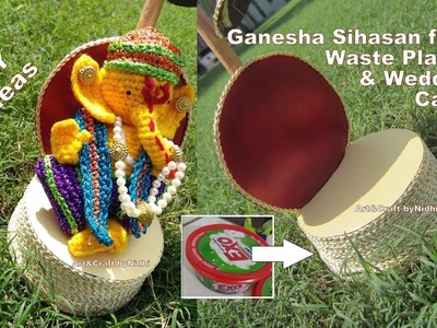 DIY Ganpati Decoration- Chair Singhasan for Ganesha from Waste Plastic and Wedding Cards