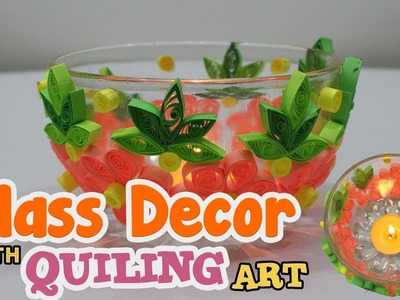 Diy Glass decor with quilling flowers | Paper quilling art and craft ideas | Quilled Candle Holder