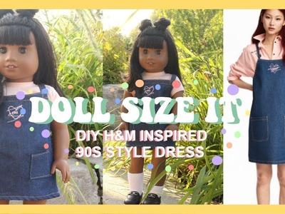 DIY H&M INSPIRED 90S DENIM DRESS FOR AMERICAN GIRL DOLL