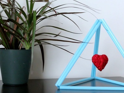 DIY Heart Showpiece From Straws and Yarn ||  Hanging Heart ||DIY Room Decor