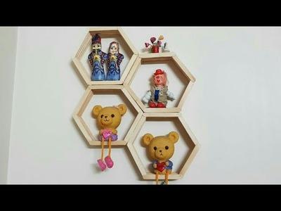 Diy honeycomb shelves from popsicle sticks   hexagon popsicle shelf template #hexagon popsicle shelf