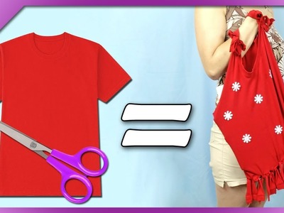 DIY How to make bag out of old t-shirt (ENG Subtitles) - Speed up #388