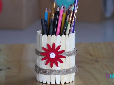 DIY | How to make pen stand at home |icecream sticks pen stand | Best out of waste