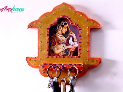DIY Key Rings Hanger cum Photo Frame with Waste Cardboard | Wall Decoration Ideas