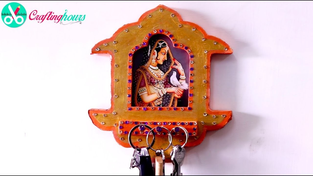 DIY Key Rings Hanger cum Photo Frame with Waste Cardboard | Wall Decoration Ideas