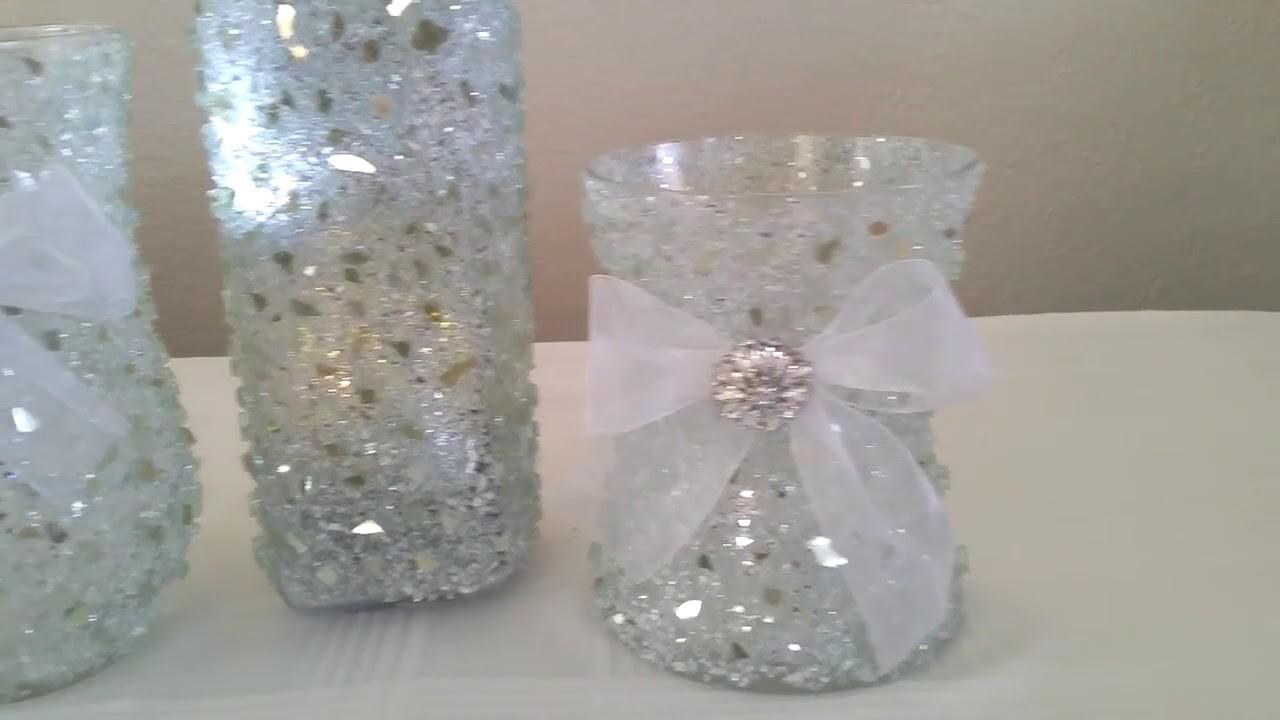 Diy light bling vase candle holder centerpiece winter