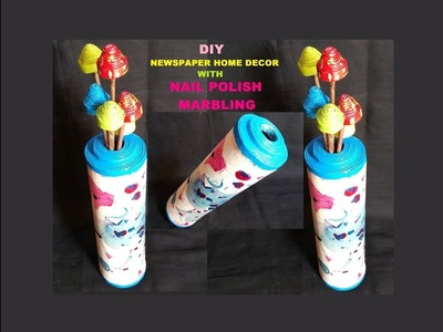 DIY Newspaper Home Decor with Wall Putty & Nail Polish Marbling. Best out of waste