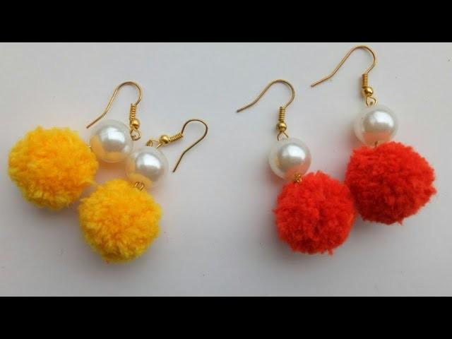 Diy Pom Pom Earrings Pom Pom Dangle Earrings Making Pompom