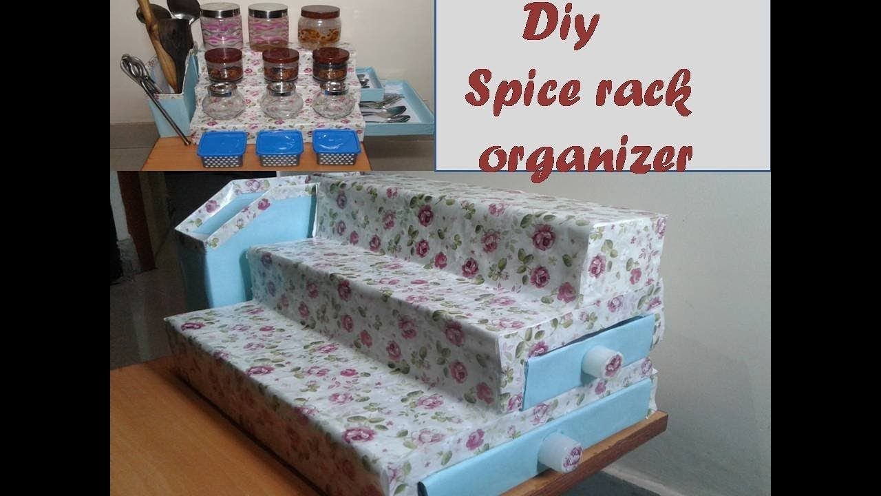 DIY spice organizer for kitchen- kitchen organization Idea. multipurpose storage kitchen organizer