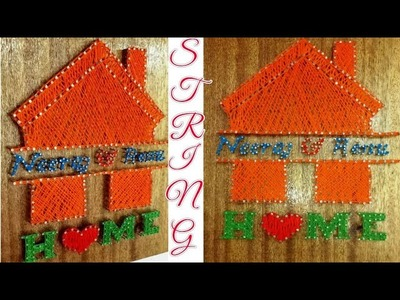 DIY.String art. Wood string art.String art wall hangings.wall decoration idea.String art with home