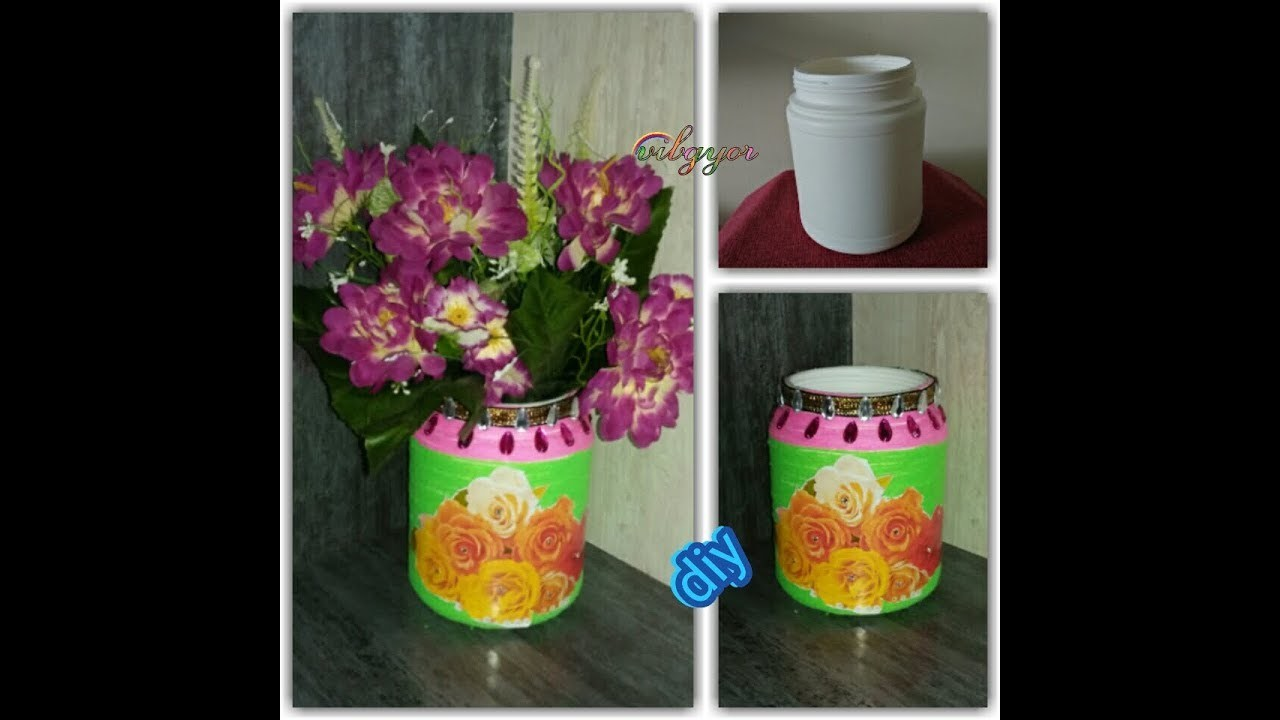 Diy woolen flower vase best out of waste my crafts and for Handmade flower vase with waste material