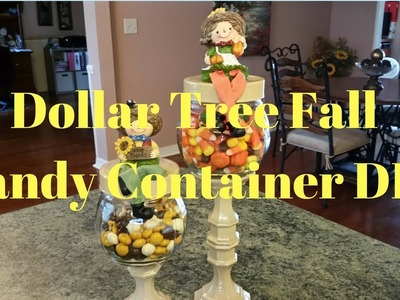 Dollar Tree Fall Glass Candy Container DIY