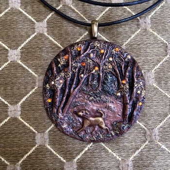 Fall ~ Labrador 'Walking in the Woods' ~ Handmade Pendant/Necklace ~ Cold cast in Copper ~ 3D Design ~ set with 20 Swarovski Crystals