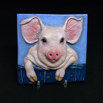 Happy Mister Pig ~ Relief Wall Art ~ Handmade/Hand Painted in Polymer Clay