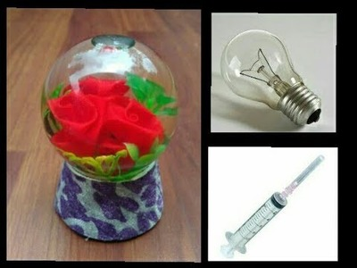 How to make snow globe  flower  waste fuse bulb  flower DIY