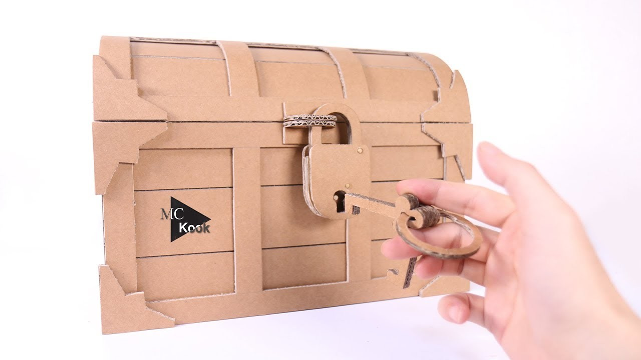 How To Make Treasure Chest With A Lock - Cardboard Diy-4073