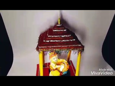 Janmashtami Special:DIY Lord Krishna's Temple Made By Using Old Carton And Colour Paper