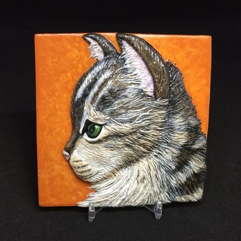 Little Kitty ~ Relief Wall Art ~ Handmade/Hand Painted in Polymer Clay