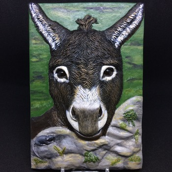 Mr. Donkey ~  Relief Wall Art ~ Handmade/Hand Painted in Polymer Clay