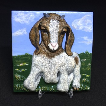 Ms. Goat ~ Relief Wall Art ~ Handmade/Hand Painted in Polymer Clay