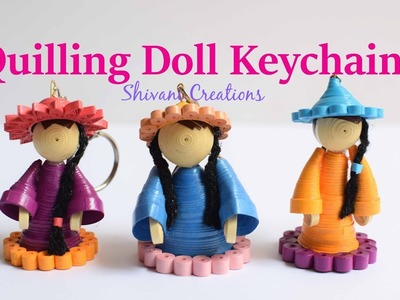 Quilling Doll Keychain. Miniature quilling dolls. DIY Key Chain. Quilling showpiece