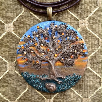 Spring ~ 'Puppy napping under a tree' ~ Handmade Pendant made in Cold cast Bronze ~ 3D Design ~ set with 26 Swarovski Crystals