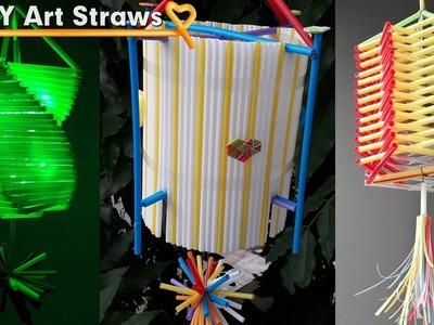 3 Diy project lamp ideas with Drinking Straw - Decorative lights Straws #DIY Art Straws
