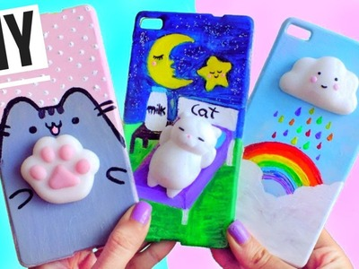 3 DIY VIRAL SQUISHY PHONE CASES | Cat, cloud & cat footprint