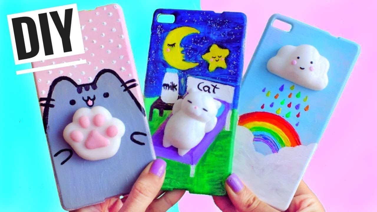 Cat, 3 DIY VIRAL SQUISHY PHONE CASES, Cat, cloud & cat footprint, HOME DIY - CAT TREE. CAT CASTLE