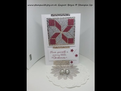 Christmas quilt glimmer paper card stampin up
