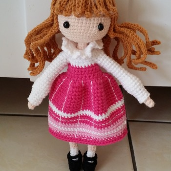 Crochet doll - pink dress