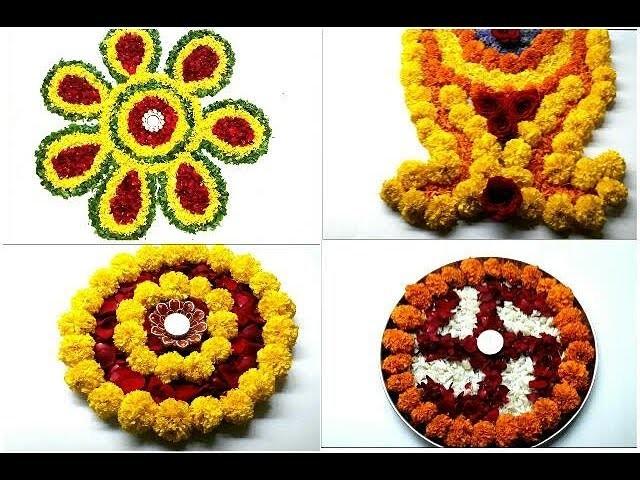 Diy 10 rangoli designes beautiful flower rangoli designe for Home made rangoli designs