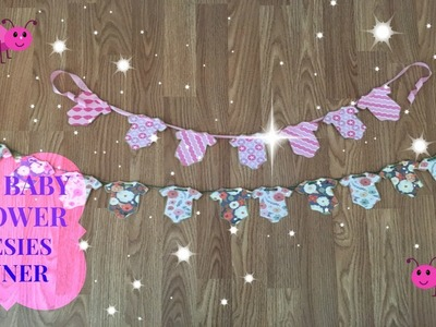 DIY Baby Shower Decor   Onesies Banner Floral Garden Theme    Dollar Tree