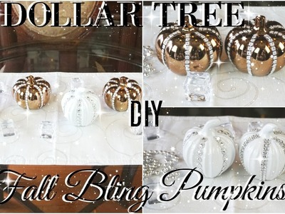 DIY DOLLAR TREE BLING FALL PUMPKINS | DIY DOLLAR TREE FALL DECOR | FALL DECOR 2017 ????