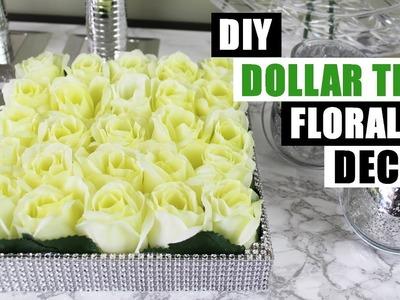 DIY DOLLAR TREE BLING FLORAL DECOR Dollar Store DIY Glam Floral Arrangement DIY Home Decor