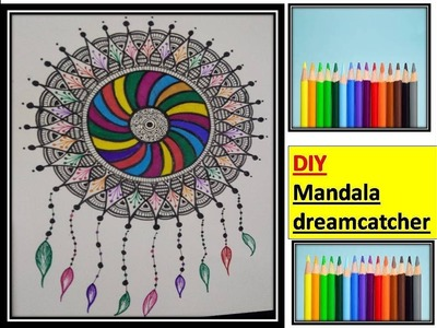DIY | dreamcatcher mandala drawing with rainbow colors