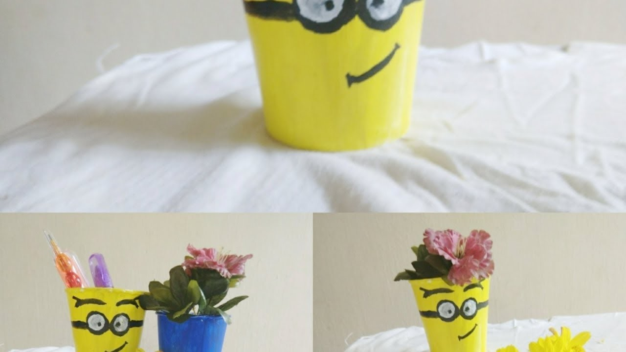 Diy easy craft recycled paper glass craft room decor for Recycled room decoration crafts