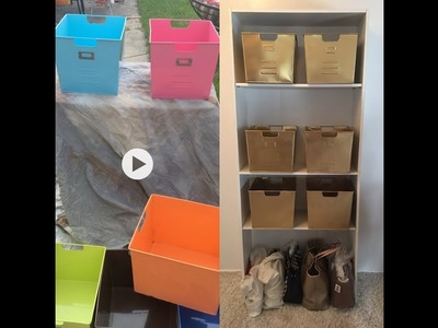 DIY Gold Spray Paint, Metal Tins & Shelf Idea Glam Makeover