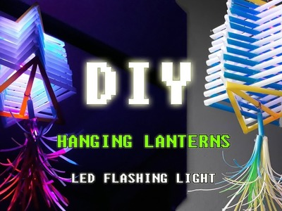 DIY Hanging Lanterns with straws idea - How To Make Lights Hanging Decoration #DIY Art Straws