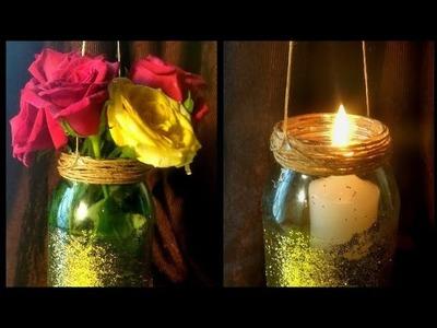 DIY Hanging mason jar vase | Mason jar candle