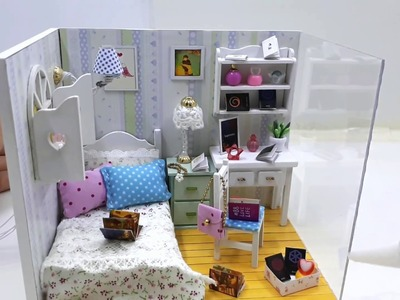 DIY Miniature Dollhouse Kit House with Furniture + LED - Corner Series (Adabelle's Room)