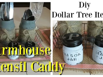 Dollar Tree DIY Farmhouse Style Utensil Caddy + Salt & Pepper Shakers | Full Tutorial