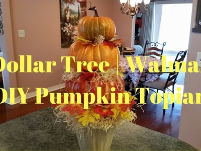 Dollar Tree | Walmart DIY Pumpkin Topiary | Farmhouse Pumpkin Topiary