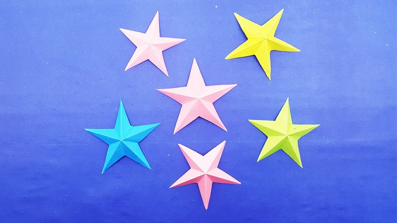 How to make 3d origami star easy paper stars making for How to make 3d paper stars easy