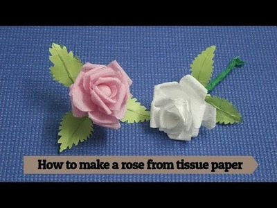 How to make a rose from tissue paper || paper flower origami || diya crafts || tissue paper rose