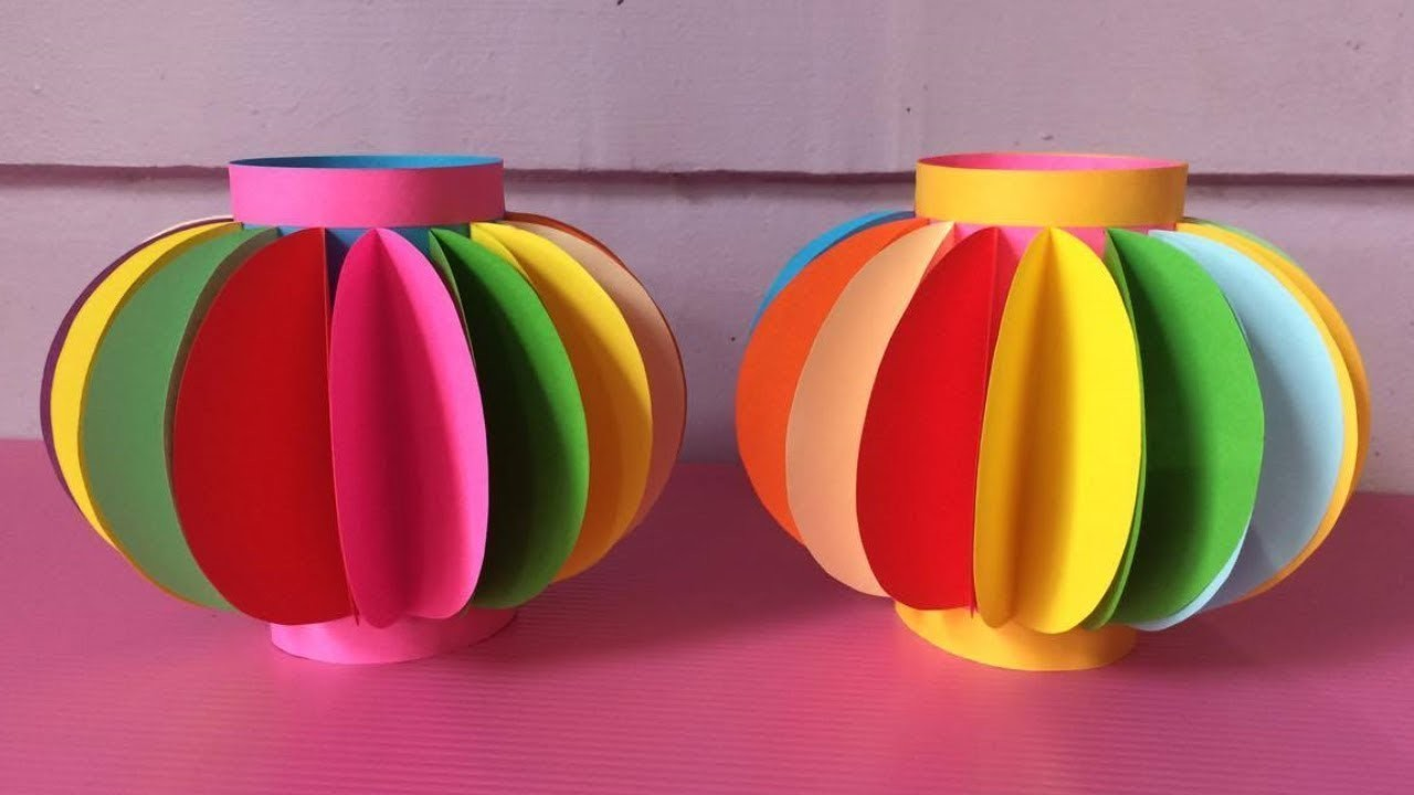 How to make lantern with color paper diy fancy paper for How to build a chinese lantern